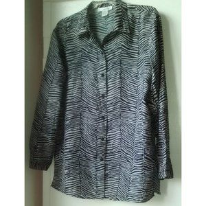 Vintage 100% Silk Animal Print Shirt